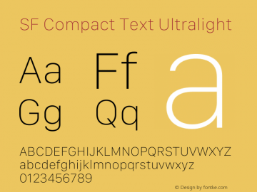 SF Compact Text Ultralight Version 15.0d7e11图片样张