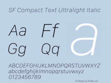 SF Compact Text Ultralight Italic Version 15.0d7e11图片样张