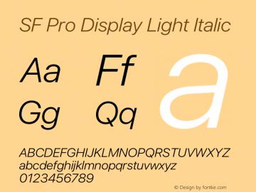 SF Pro Display Light Italic Version 15.0d7e11图片样张