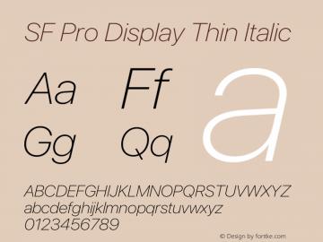 SF Pro Display Thin Italic Version 15.0d7e11图片样张