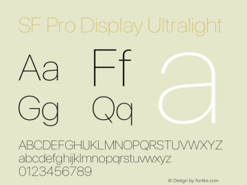 SF Pro Display Ultralight Version 15.0d7e11图片样张