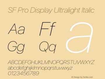 SF Pro Display Ultralight Italic Version 15.0d7e11图片样张