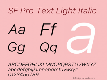 SF Pro Text Light Italic Version 15.0d7e11图片样张