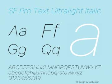 SF Pro Text Ultralight Italic Version 15.0d7e11图片样张