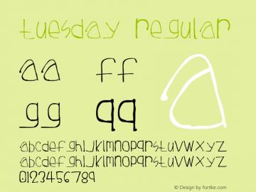 Tuesday Regular Revision 1 - 3 June 1997 - TM7 Font Sample