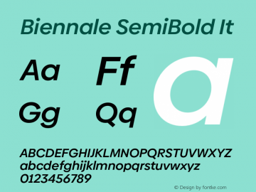 Biennale SemiBold It Version 1.001;hotconv 1.0.109;makeotfexe 2.5.65596图片样张