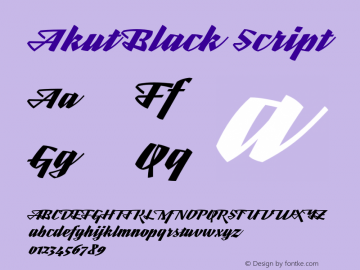 Akut Black Script Version 1.000;PS 001.000;hotconv 1.0.88;makeotf.lib2.5.64775图片样张