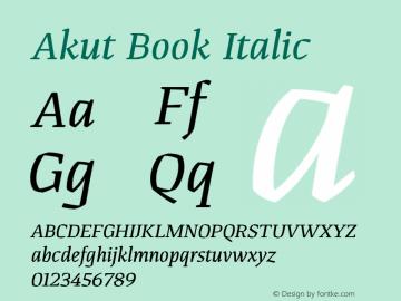 Akut Book Italic Version 1.000;PS 001.000;hotconv 1.0.88;makeotf.lib2.5.64775图片样张
