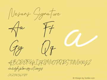 Nesans Signature Version 1.002;Fontself Maker 3.4.0图片样张