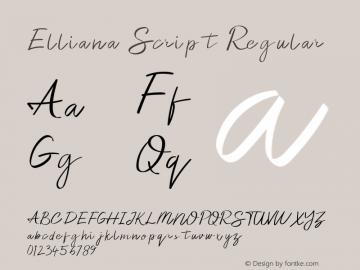 Elliana Script Version 1.003;Fontself Maker 3.2.2图片样张