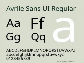 Avrile Sans UI Regular Version 1.001;September 22, 2019;FontCreator 11.5.0.2425 64-bit; ttfautohint (v1.6)图片样张