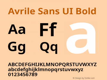Avrile Sans UI Bold Version 1.001;November 7, 2019;FontCreator 12.0.0.2547 64-bit图片样张