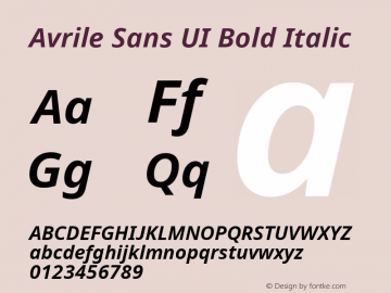 Avrile Sans UI Bold Italic Version 1.001;November 7, 2019;FontCreator 12.0.0.2547 64-bit图片样张