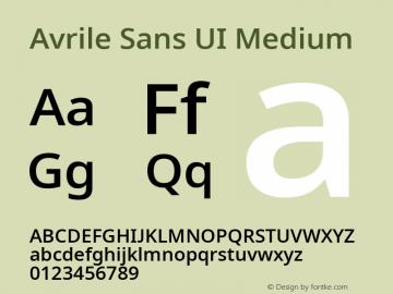 Avrile Sans UI Medium Version 1.001;November 7, 2019;FontCreator 12.0.0.2547 64-bit图片样张