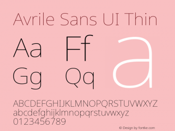 Avrile Sans UI Thin Version 1.001;November 7, 2019;FontCreator 12.0.0.2547 64-bit图片样张