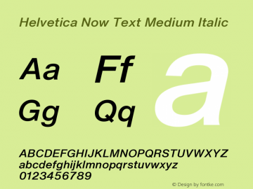 Helvetica Now Text Md It Version 1.001, build 8, s3图片样张