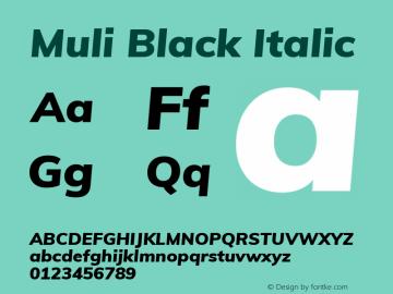 Muli Black Italic Version 2.000 Font Sample