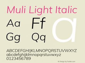 Muli Light Italic Version 2.000 Font Sample