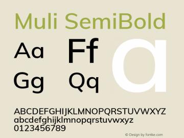 Muli SemiBold Version 2.000 Font Sample