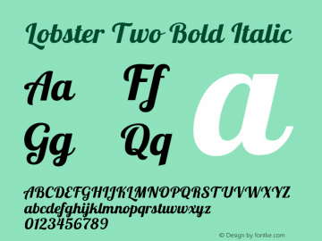 Lobster Two Bold Italic Version 1.006图片样张