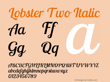 Lobster Two Italic Version 1.006图片样张