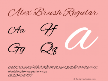 Alex Brush Regular Version 1.004图片样张