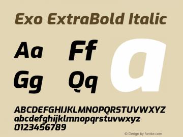 Exo ExtraBold Italic Version 1.500; ttfautohint (v1.6)图片样张