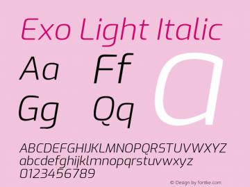 Exo Light Italic Version 1.500; ttfautohint (v1.6)图片样张