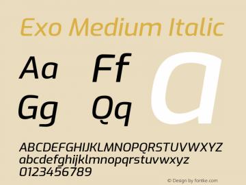 Exo Medium Italic Version 1.500; ttfautohint (v1.6)图片样张