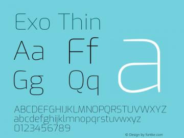 Exo Thin Version 1.500; ttfautohint (v1.6)图片样张