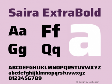 Saira ExtraBold Version 0.072图片样张