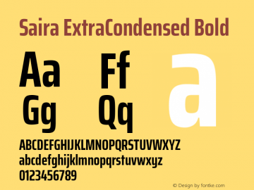 Saira ExtraCondensed Bold Version 0.072图片样张