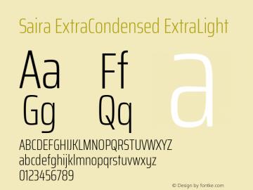 Saira ExtraCondensed ExtraLight Version 0.072图片样张