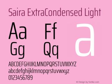 Saira ExtraCondensed Light Version 0.072图片样张