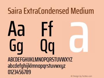 Saira ExtraCondensed Medium Version 0.072图片样张