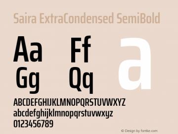Saira ExtraCondensed SemiBold Version 0.072图片样张