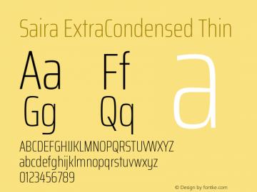 Saira ExtraCondensed Thin Version 0.072图片样张