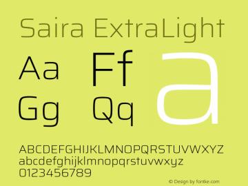 Saira ExtraLight Version 0.072图片样张