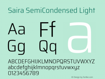 Saira SemiCondensed Light Version 0.072图片样张