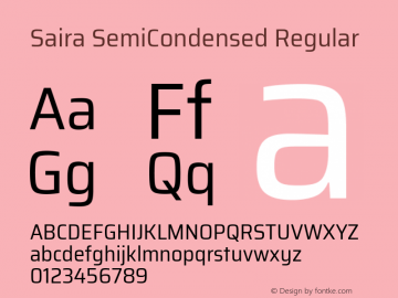 Saira SemiCondensed Regular Version 0.072图片样张