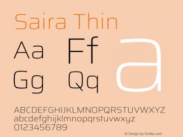 Saira Thin Version 0.072图片样张