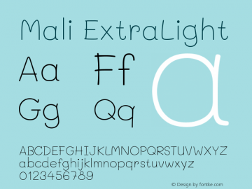 Mali ExtraLight Version 1.000; ttfautohint (v1.6)图片样张