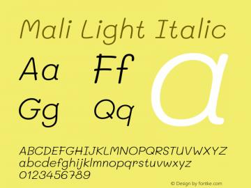 Mali Light Italic Version 1.000; ttfautohint (v1.6)图片样张