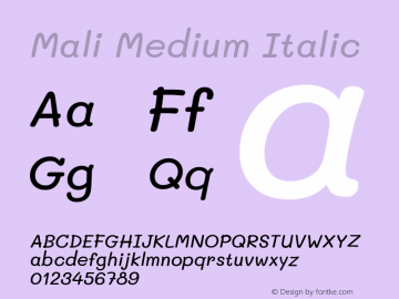 Mali Medium Italic Version 1.000; ttfautohint (v1.6)图片样张