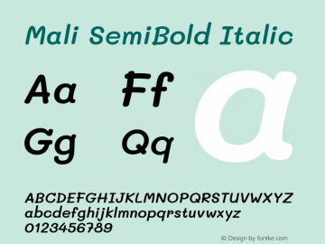Mali SemiBold Italic Version 1.000; ttfautohint (v1.6)图片样张