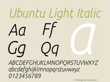 Ubuntu Light Italic 0.83 Font Sample
