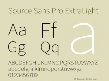 Source Sans Pro ExtraLight Version 2.021;PS 2.000;hotconv 1.0.86;makeotf.lib2.5.63406图片样张