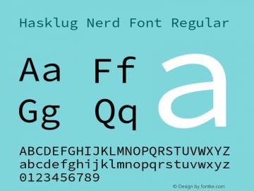 Hasklug Nerd Font Complete Version 2.030;PS 1.0;hotconv 16.6.51;makeotf.lib2.5.65220 Font Sample