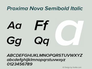 . Version 2.008; Proxima Nova Semibold Italic图片样张