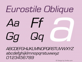 Eurostile Oblique Version 1.00图片样张